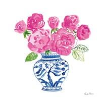 Chinoiserie Roses on White I Fine-Art Print