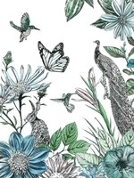 Peacock and Flowers Fine-Art Print