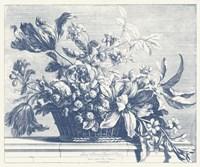 Navy Basket of Flowers I Fine-Art Print