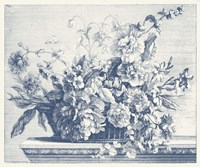 Navy Basket of Flowers II Fine-Art Print