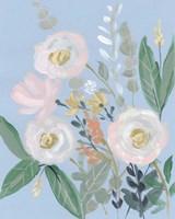 Spring Bouquet on Blue I Fine-Art Print
