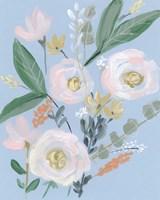 Spring Bouquet on Blue II Fine-Art Print