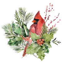 Cardinal Holly Christmas I Fine-Art Print