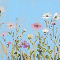 Wild Flowers on Cerulean I Fine-Art Print