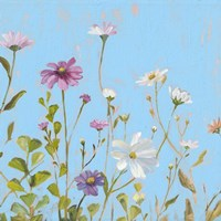 Wild Flowers on Cerulean II Fine-Art Print