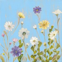 Wild Flowers on Cerulean III Fine-Art Print