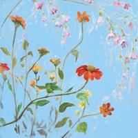Wild Flowers on Cerulean IV Fine-Art Print