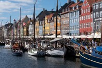 Colorful Buildings, Boats And Canal, Denmark, Copenhagen Fine-Art Print