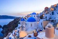 Greece, Santorini, Oia Sunset On Coastal Town Fine-Art Print