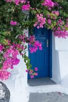 Greece, Santorini A Picturesque Blue Door Is Surrounded By Pink Bougainvillea In Firostefani Fine-Art Print