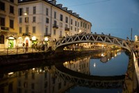 Italy, Lombardy, Milan Historic Naviglio Grande Canal Area Known For Vibrant Nightlife Fine-Art Print