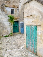 Italy, Basilicata, Matera Doors In A Courtyard In The Old Town Of Matera Fine-Art Print