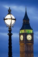 Europe, Great Britain, London, Big Ben Clock Tower Lamp Post Fine-Art Print