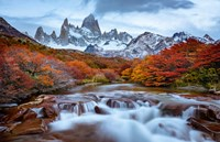 Argentina, Los Glaciares National Park Mt Fitz Roy And Lenga Beech Trees In Fall Fine-Art Print