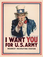 Uncle Sam, I Want You for the U.S. Army, 1917 Fine-Art Print