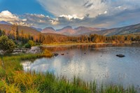 Sunrise On Hallett Peak And Flattop Mountain Above Sprague Lake, Rocky Mountain National Park, Colorado Fine-Art Print
