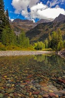Mcdonald Creek With Garden Wall In Early Autumn In Glacier National Park, Montana Fine-Art Print