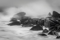 New Jersey, Cape May, Black And White Of Beach Waves Hitting Rocks Fine-Art Print