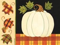 White Pumpkin, Leaves and Acorns Fine-Art Print