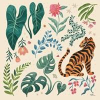 Jungle Love V Cream Framed Print