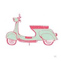 Road Trip Vespa Pink Green Fine-Art Print