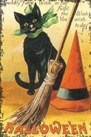 Halloween Nostalgia Cat with Broom Fine-Art Print