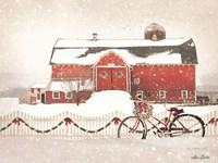 Christmas Barn and Bike Fine-Art Print