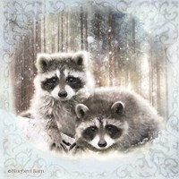 Enchanted Winter Raccoons Fine-Art Print
