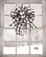 Christmas Deer with Bow Fine-Art Print