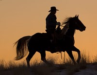 Cowboy Riding His Horse Winters Snow Silhouetted At Sunset Fine-Art Print