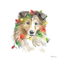 Holiday Paws IX on White Fine-Art Print
