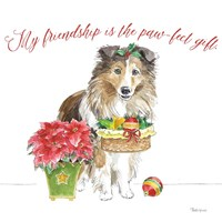 Holiday Paws III on White Fine-Art Print