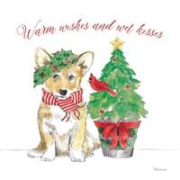 Holiday Paws V on White Fine-Art Print