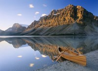 Canoe At The Lakeside, Bow Lake, Alberta, Canada Fine-Art Print
