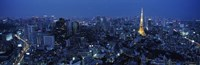 Tower Lit Up At Dusk In A City, Tokyo Tower, Japan Fine-Art Print