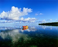 Reflection Of Clouds And Boat On Water, Tahiti Fine-Art Print