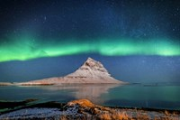 Aurora Borealis Or Northern Lights With The Milky Way Galaxy, Iceland Fine-Art Print