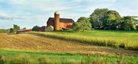 Field With Silo And Barn In The Background, Ohio Fine-Art Print