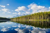 Scenic Landscape Reflecting In Lake At Banff National Park, Alberta, Canada Fine-Art Print