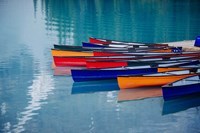 Colorful Rowboats Moored In Calm Lake, Alberta, Canada Fine-Art Print