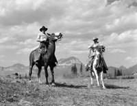 Pair Of Cowboys On Horseback At Glacier Fifty Mountain Camp Fine-Art Print