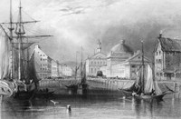 Skyline Boston Massachusetts From Waterfront Showing Fanueil Hall Engraving By T. A. Prior From Bartlett Fine-Art Print