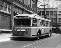 Vehicle Operates As Trackless Trolley Electric Bus Or Gasoline Bus Public Transportation Elizabeth NJ Fine-Art Print