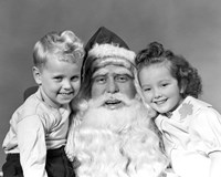 Santa Claus Posing With Young Boy And Girl Fine-Art Print