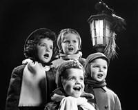 Children Singing Christmas Carols Outdoor By Lantern Light Fine-Art Print