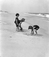 3 Kids Playing In The Sand On The New Jersey Shore Fine-Art Print