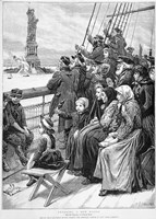 Group Of Arriving Immigrants Huddled On Ship Deck Waving At Statue Of Liberty Fine-Art Print