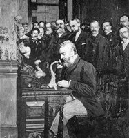 Engraving Of Alexander Graham Bell Making First Long Distance Telephone Call From New York To Chicago In 1892 Fine-Art Print