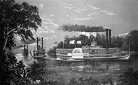 Steamboats Rounding A Bend On Mississippi River Parting Salute Currier & Ives Lithograph 1866 Fine-Art Print