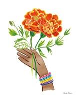 Floral Hand I No Design Tan Fine-Art Print